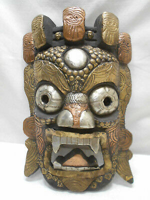 Vintage Mask Japanese Wooden Metal Plate Hand Carved Wall Hanging Tribal  #187