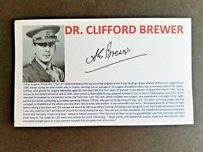 DR. CLIFFORD BREWER SURGEON D-DAY LANDINGS Autographed 3x5 Index Card