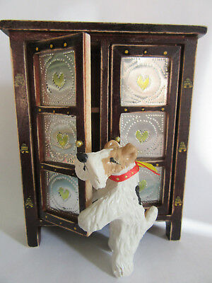 Hand Sculpted ART~~~WIRE FOX TERRIER GETTING INTO THE WOOD CABINET~~ART Figurine
