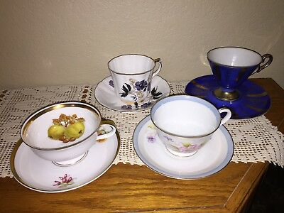 Vintage Lot of Four Tea Cup and Saucers China Bavaria and Japan