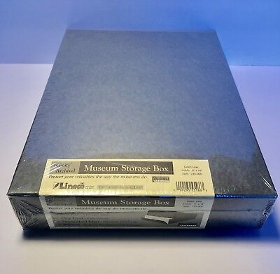 """Lineco 11x14"""" Archival Drop Front Museum Storage Box 3"""" Deep Gray New"""