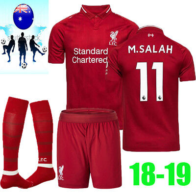 18/19 Football Soccer M.SALAH Red Home Kit Short Sleeve for 3-14Y Kid Suit+Socks