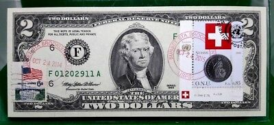 Money Us $2 Dollars 1995 Frn Atlanta Coin And Flag Of Switzerland Gem Unc Rare