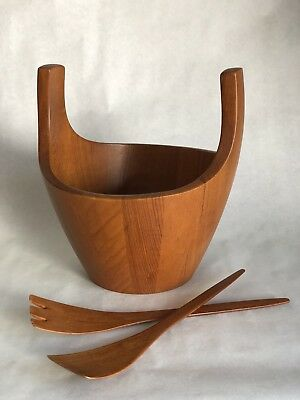 Rare Vintage Dansk Large Teak Salad Bowl Server With Tongs Jens Quistgaard 1Hq