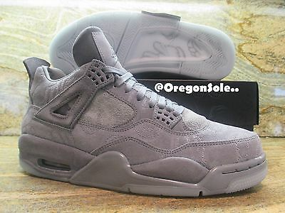 best service 84428 b4efa NIKE AIR JORDAN 4 IV Retro KAWS SZ 8.5 Cool Grey Suede Glow In Dark  930155-003