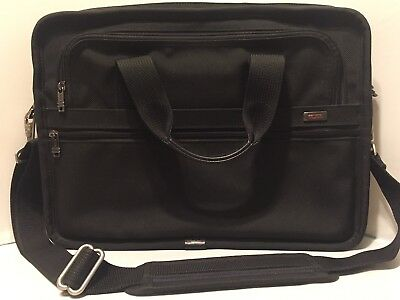 Tumi Slim Messenger Computer Laptop Bag Briefcase Black Ballistic Nylon