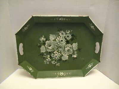 Vintage Large Soft Green Tole Tray Shabby Chic Flowers Hand Painted-Handles