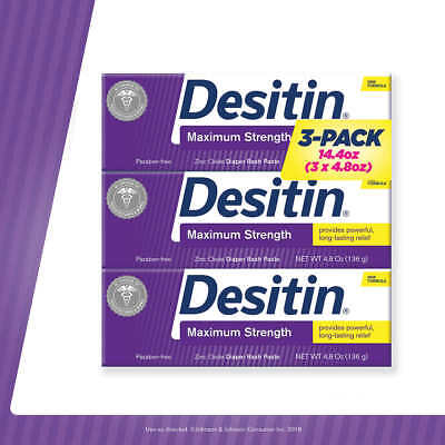 Desitin Maximum Strength 14.4 Ounces 3 Tubes Treat Diaper Rash Zinc Oxide 40%!!!