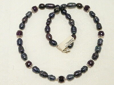 "CULTURED PEARL and AMETHYST GEM NECKLACE, 925 STERLING SILVER ""NEW ""AUZ MADE"