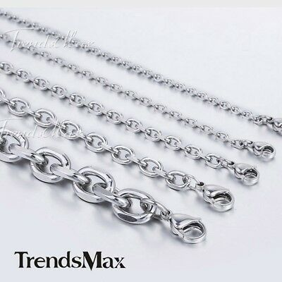 3-10mm Mens Chain Silver Tone Stainless Steel Rolo Link Necklace Bracelet HOT