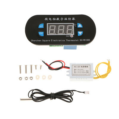 1x LCD Digital Temperature Controller Thermostat w/ Probe 220V Red Light