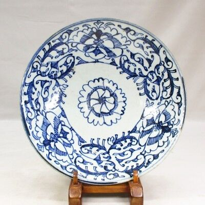 D042 REAL Chinese old blue-and-white biggish porcelain plate in Qing Dynasty age