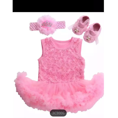 Baby's girls cake smash outfit with beaded flower slipper shoe and head band