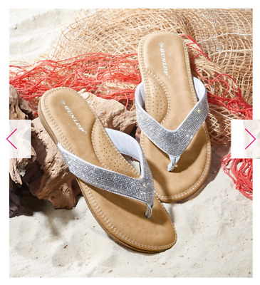 ec7e7032c633 Size 7 Ladies Silver Dunlop Toe Post Sandals Flip Flops From Avon. Rrp£25