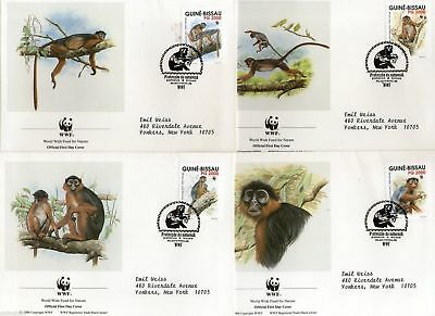 Guinea Bissau 1991 Western Red Colobus set of 4 FDC