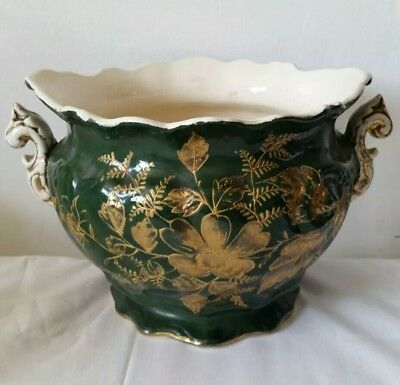 Antique Green And Gold Plant Pot With Handles
