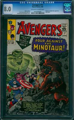Avengers # 17  Four Against the Minotaur !  CGC 8.0 scarce book !