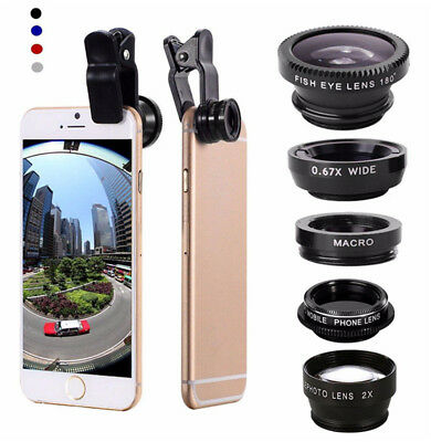 5in1 Cellphone Lens Kit Telephoto+Wide Angle+Macro Lens Clip for iPhone Samsung