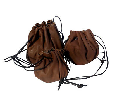 LARP Brown Leather Draw String Pouch Purse Money Coins Dice  3 sizes REDUCED