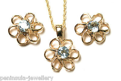 9ct Gold Blue Topaz Pendant Necklace and Earring Set Made in UK Gift Boxed