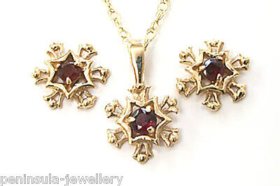 9ct Gold Garnet Snowflake Pendant Necklace and Earring Set Made in UK Gift Boxed