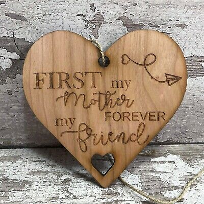 Mum Plaque Mother of Bride Gift Forever Friend Wood Hanging Heart Family Rustic