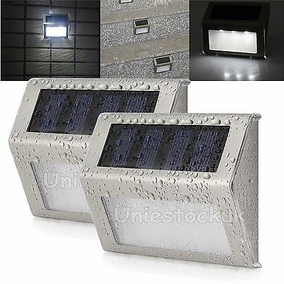 2x Solar Powered Door Fence Wall Step Light LED Garden Outdoor Lamp Security AU