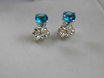 0.925 S/Silver (not plated) Stud Earrings set with 4mm blue topaz colour stone