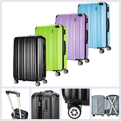 Hard Shell 3pc Suitcase Set Luggage Trolley Cabin Carry On hand Spinner Wheels