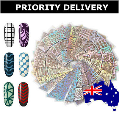 Nail Art Stickers Stencil Vinyls Decals Mermaid Lines Stripes 3D Holo Guides