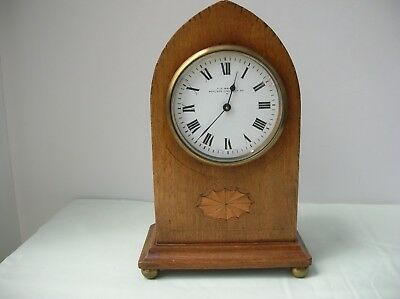 Antique Edwardian Mantle 8 day Clock with boxwood inlay