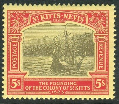 ST KITTS & NEVIS-1923 5/- Black Red/Pale Yellow lightly mounted mint  Sg 59
