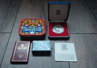 Sterling Silver Crown Coin,  Jubilee 1977 Tin, Matchbox & 1953 Coronation Book