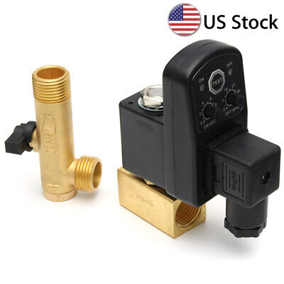 """110V 1/2"""" Automatic Electronic Timed Air Tank Water Drain Valve For Compressor"""