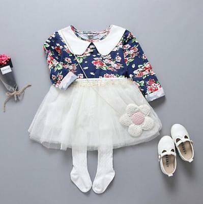 Girls Dress flower Lace Tulle TuTu Bow Party Birthday  2-6 years