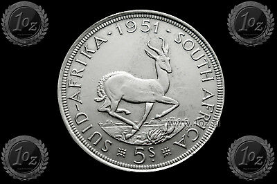 SOUTH AFRICA 5 SHILLINGS 1951 ( King George VI ) SILVER coin (KM# 40.2) XF