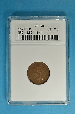 1871 RPD Indian Head Cent ANACS VF30- Tougher Date, Scarce Variety, Light Brown