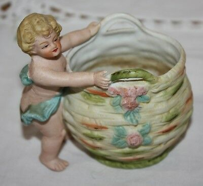 "Vintage Hand Painted Porcelain Vase with Girl Cherub 3.5"" x 2.25"" x 4""H"