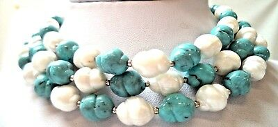 "Stunning Vintage Estate Signed Crown Trifari Lucite Beaded 13"" Necklace!!! 9767H"