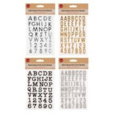 ALPHABET CAPITAL LETTERS NUMBERS 3D STICKERS SELF ADHESIVE black silver 2.5cm
