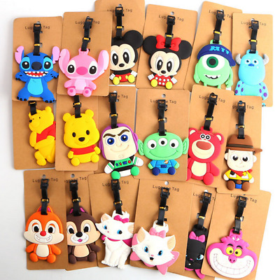 200 Styles Disney PVC Kids Schoolbag Travel Baggage Name Card Luggage Tags