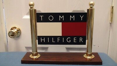 Beautiful Tommy Hilfiger Advertising Table Sign Wooden Base Brass Very Rare!