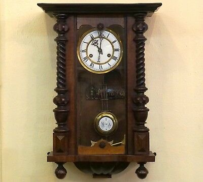 Antique German Regulator Wall Clock Walnut Case c1880 Porcelain Enameled Face