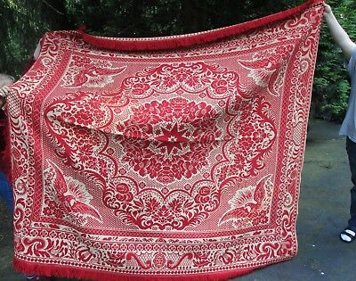Antique American Early 19th Century Red Coverlet with Eagles