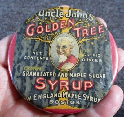 "Vintage UNCLE JOHN'S ""GOLDEN TREE SYRUP"" Celluloid POCKET MIRROR"