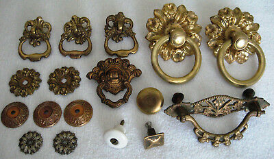 Lot of Vintage Drawer Pulls - Knobs - Back Plates - Some Matching Pairs