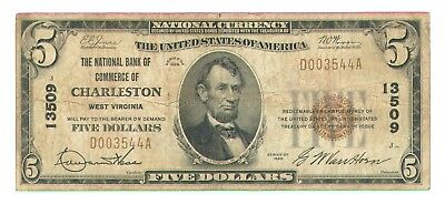 1929 $5 National Currency Note - National Bank Of Commerce Of Charleston,wv.-Vg+