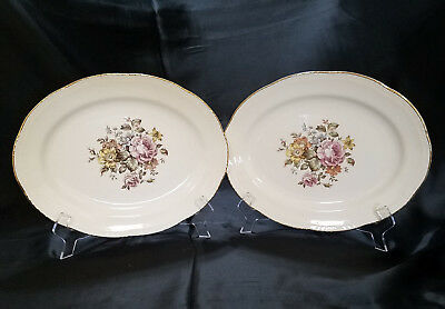 Vtg Homer Laughlin Stratford (Liberty Shape) Set of 2 Oval Platters, circa 1950s