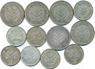 12 Old Silver Coins From Palestine 1927-1942