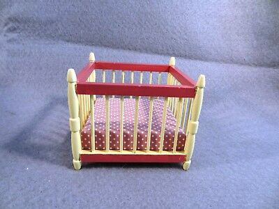 Miniature DOLLHOUSE FURNITURE Nursery MAUVE & YELLOW Baby PLAYPEN